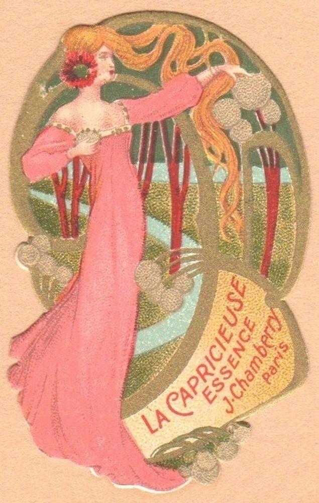 Vintage Art Nouveau French Perfume Label-La Capricieuse Essence-Chamberry-Paris