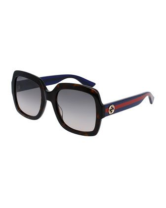 8d8ee97d69 Classic+Oversized+Rectangular+Sunglasses,+Tortoise/Blue/Red+by+Gucci +at+Neiman+Marcus.