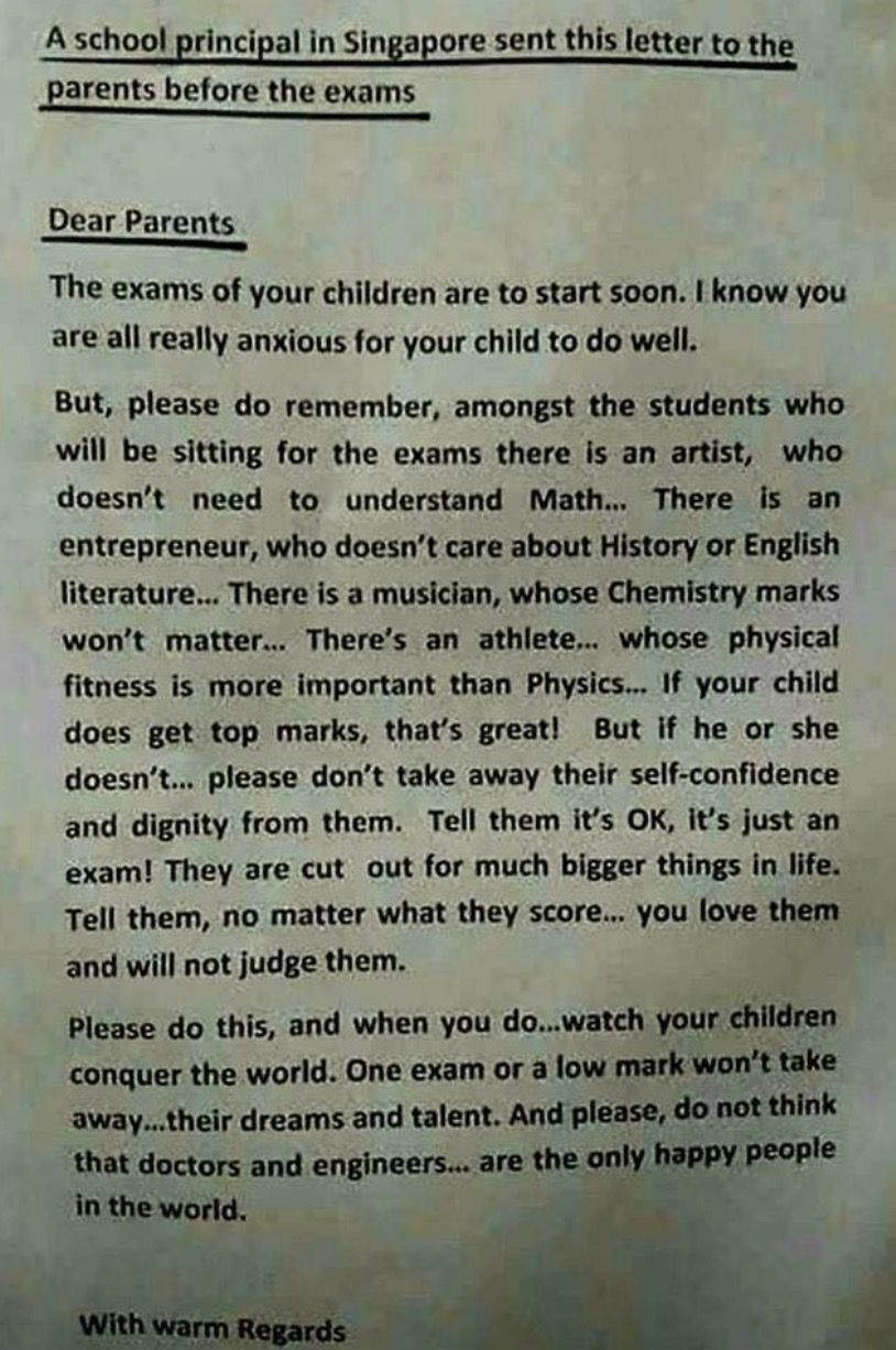 Letter To Parents From Principal In Singapore A Must Read