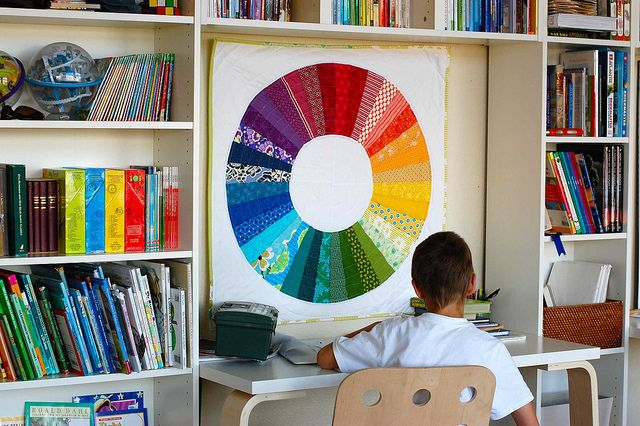 rainbow quilt in the school room