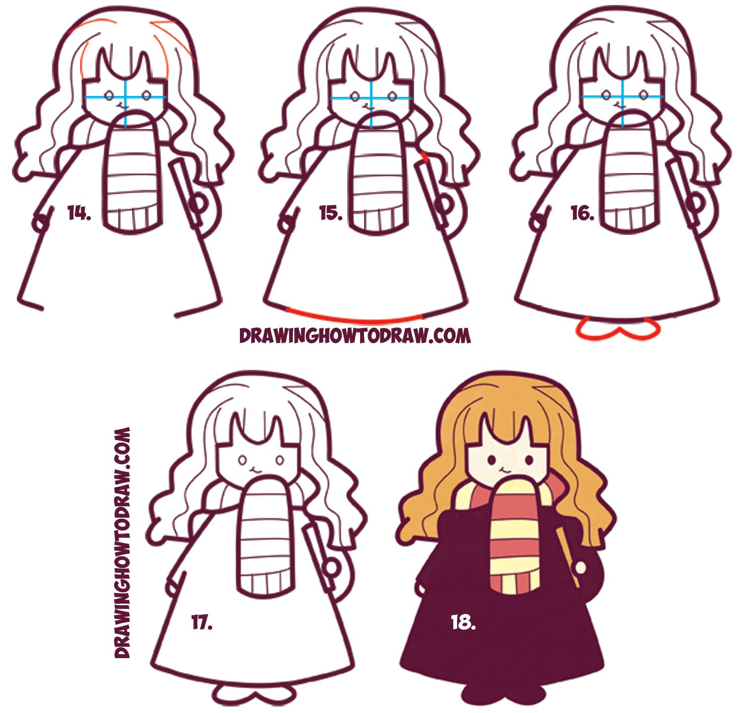 Line Drawing Harry Potter : How to draw cute hermione from harry potter chibi
