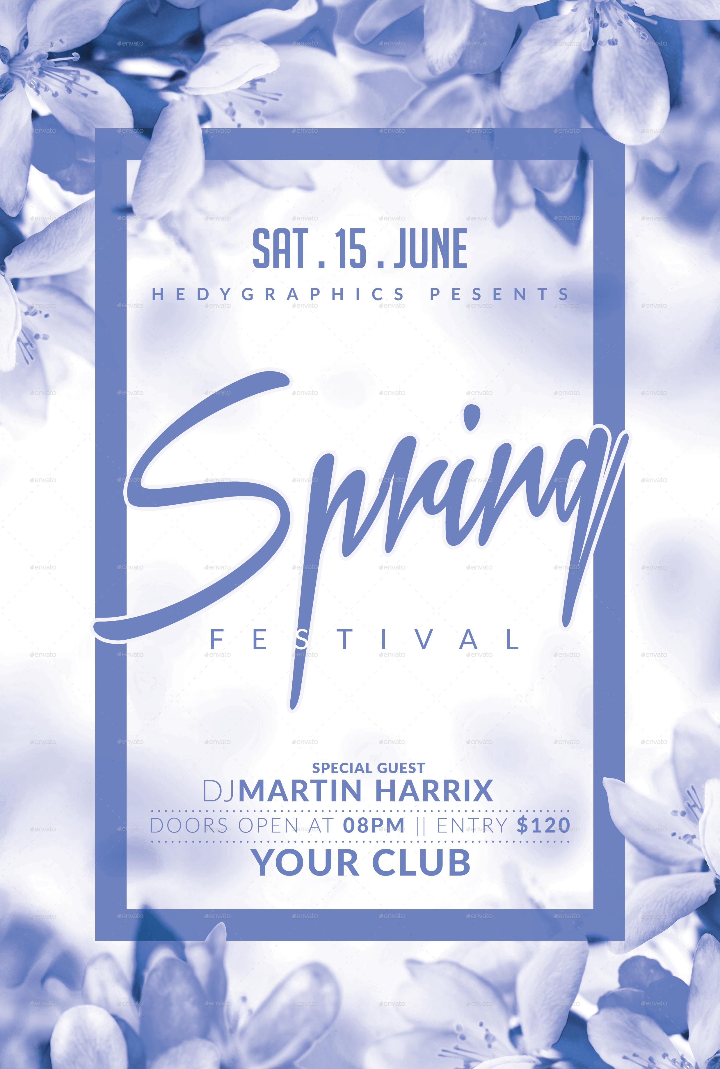 Spring Festival Flyer Template Events Pinterest