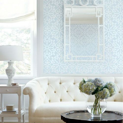 Derbyshire Damask Wallpaper In Light Blue Modern Furniture