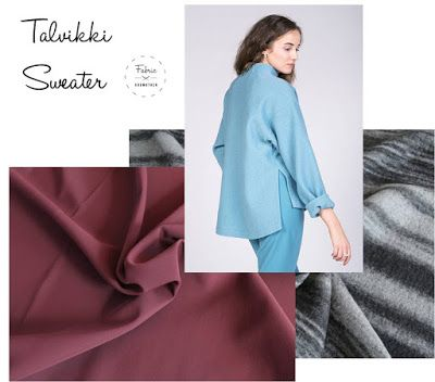Talvikki sweater sewing pattern in boiled wool or scuba. All available from Fabric Godmother