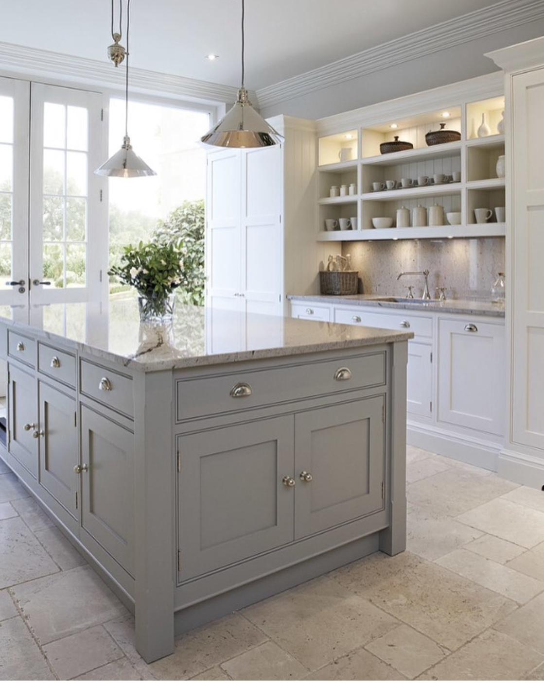 Grey French Provisional Kitchen Grey Kitchen Island Kitchen Inspirations Contemporary Kitchen