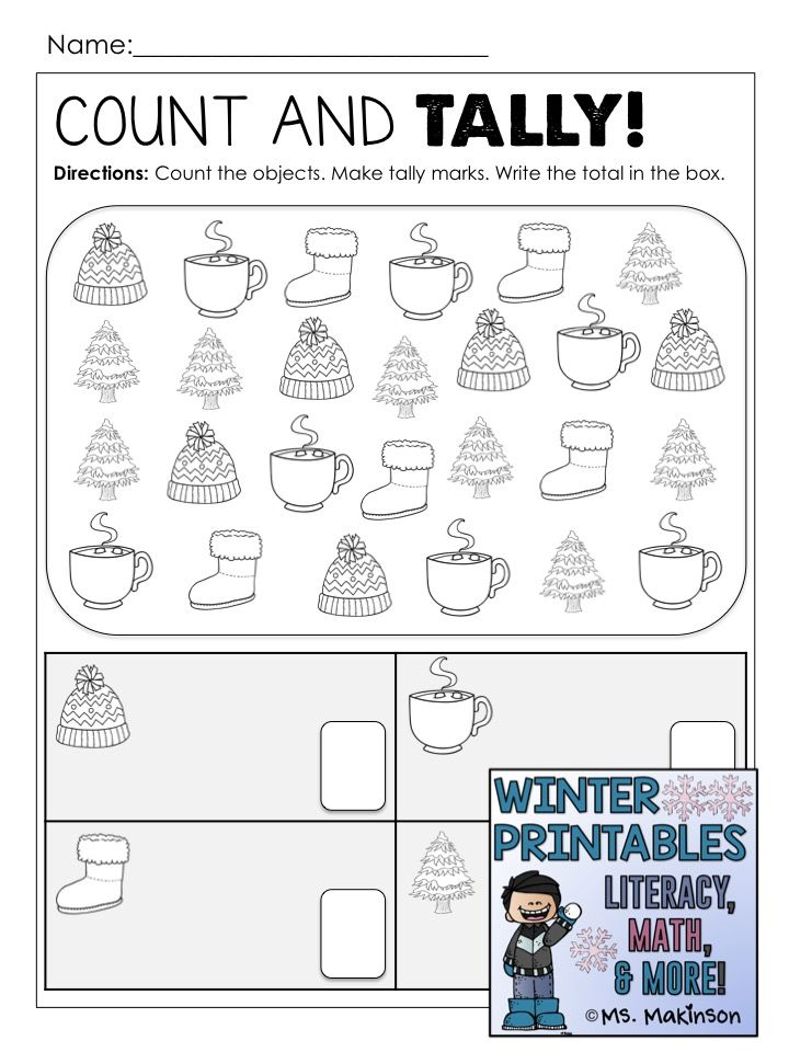 Winter Printables Literacy Math Science Tally Marks