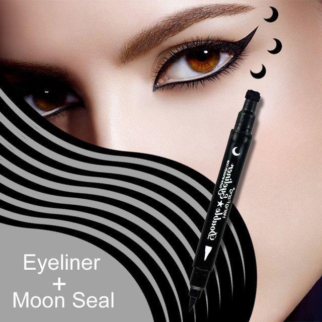 Eyeliner Brand Waterproof Black Eyeliner Pen With Moon Heart Star Stamp Eyes Makeup Liquid Eye Liner Pencil Seal Long-lasting Cosmetics