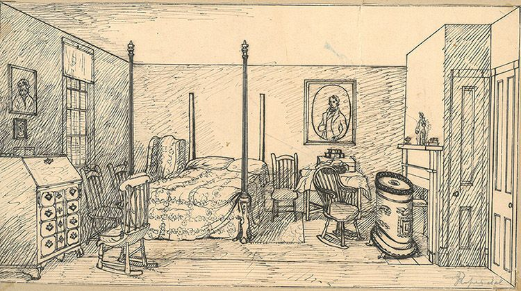 Joseph ropes sketch of room at 373 essex street salem