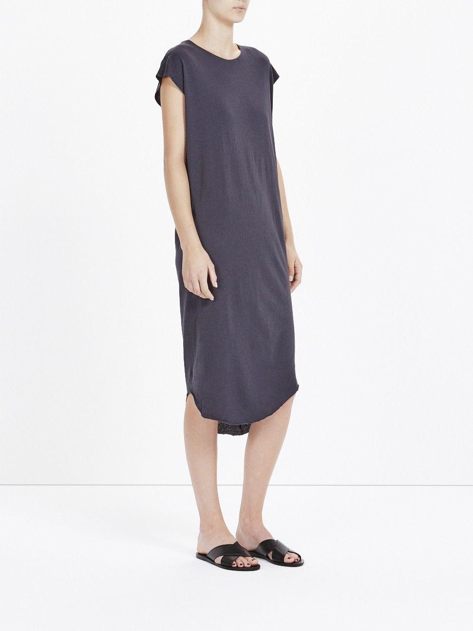 round neck cap sleeve tank dress with curved asymmetric hem. bottom ...