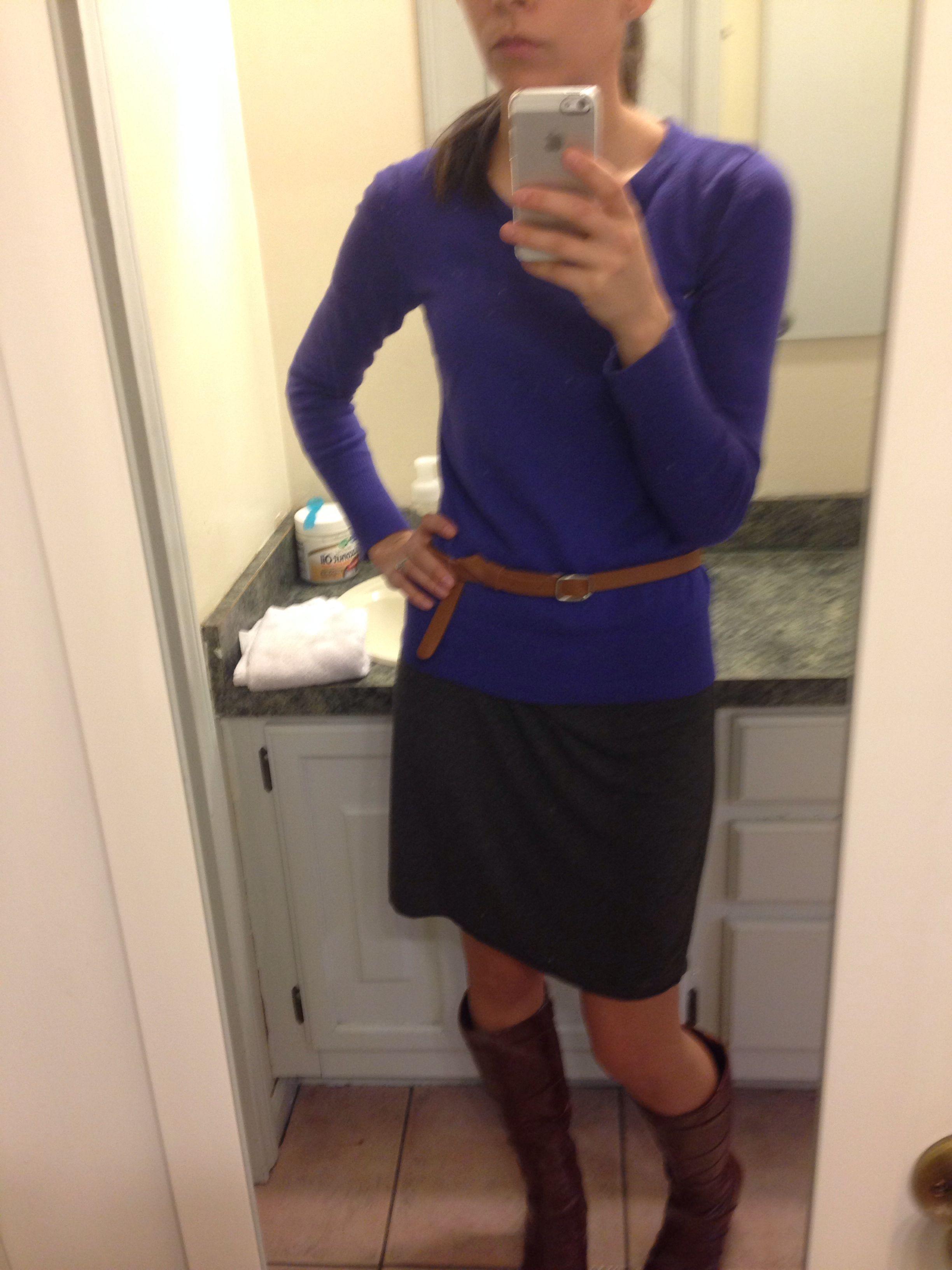 Grey Shift Dress  Marshalls, Blue Crew Neck Sweater
