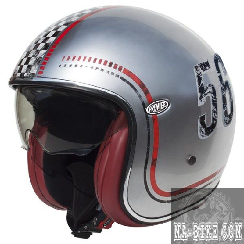 premier jethelm vintage fl silver chromed motorradhelm. Black Bedroom Furniture Sets. Home Design Ideas