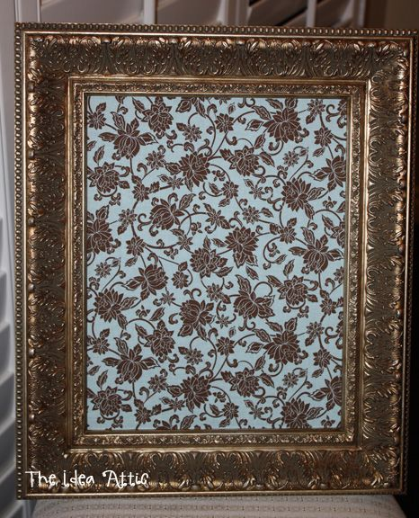 I like the idea of putting fabric over a cork board and framing it for a classy bulletin board or place to hang necklaces
