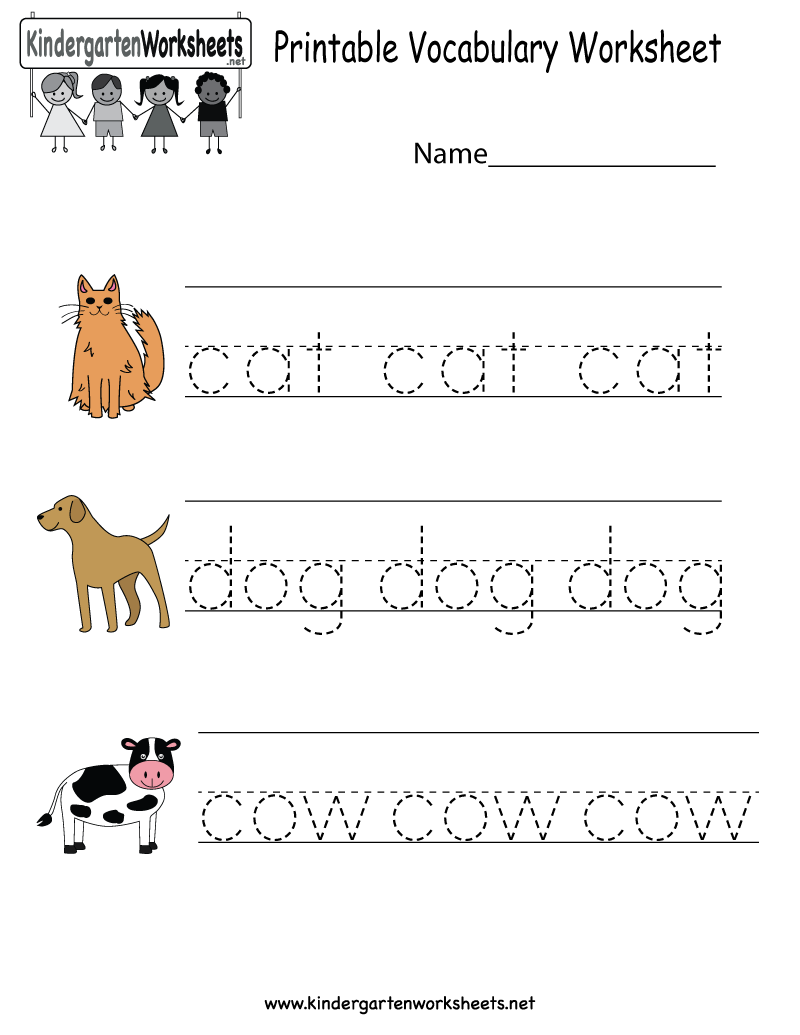 This is a vocabulary worksheet for kindergarteners. Children will ...