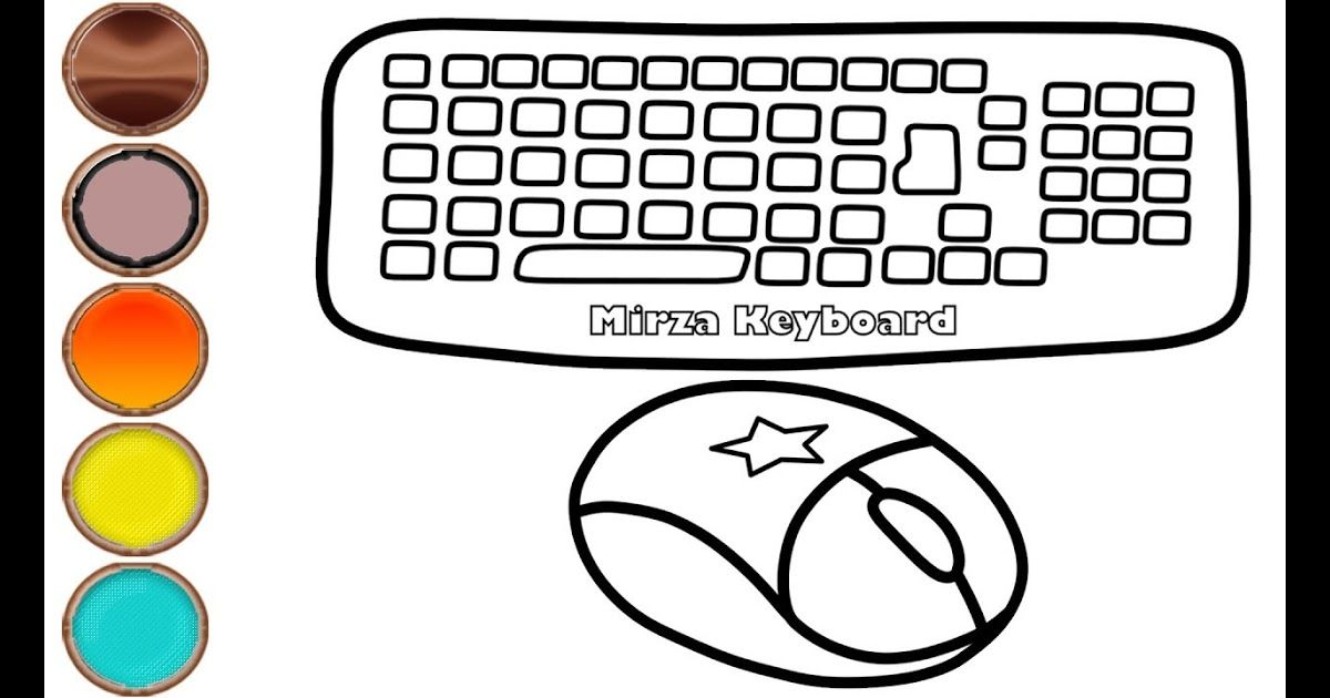 Glitter Computer Keyboard And Mouse Drawing Coloring Pages Mirza Computer Drawing For Kids Drawing For Kids Online Coloring For Kids Coloring Pages For Kids