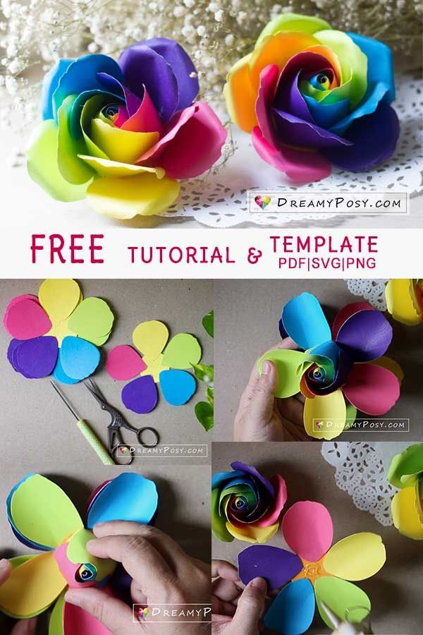 Rainbow rose from paper, free tutorial and template #rainbowroses