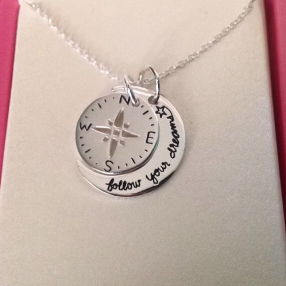 Follow Your Dreams Moon Compass Necklace 925 Sterling Silver Graduation Gift NEW