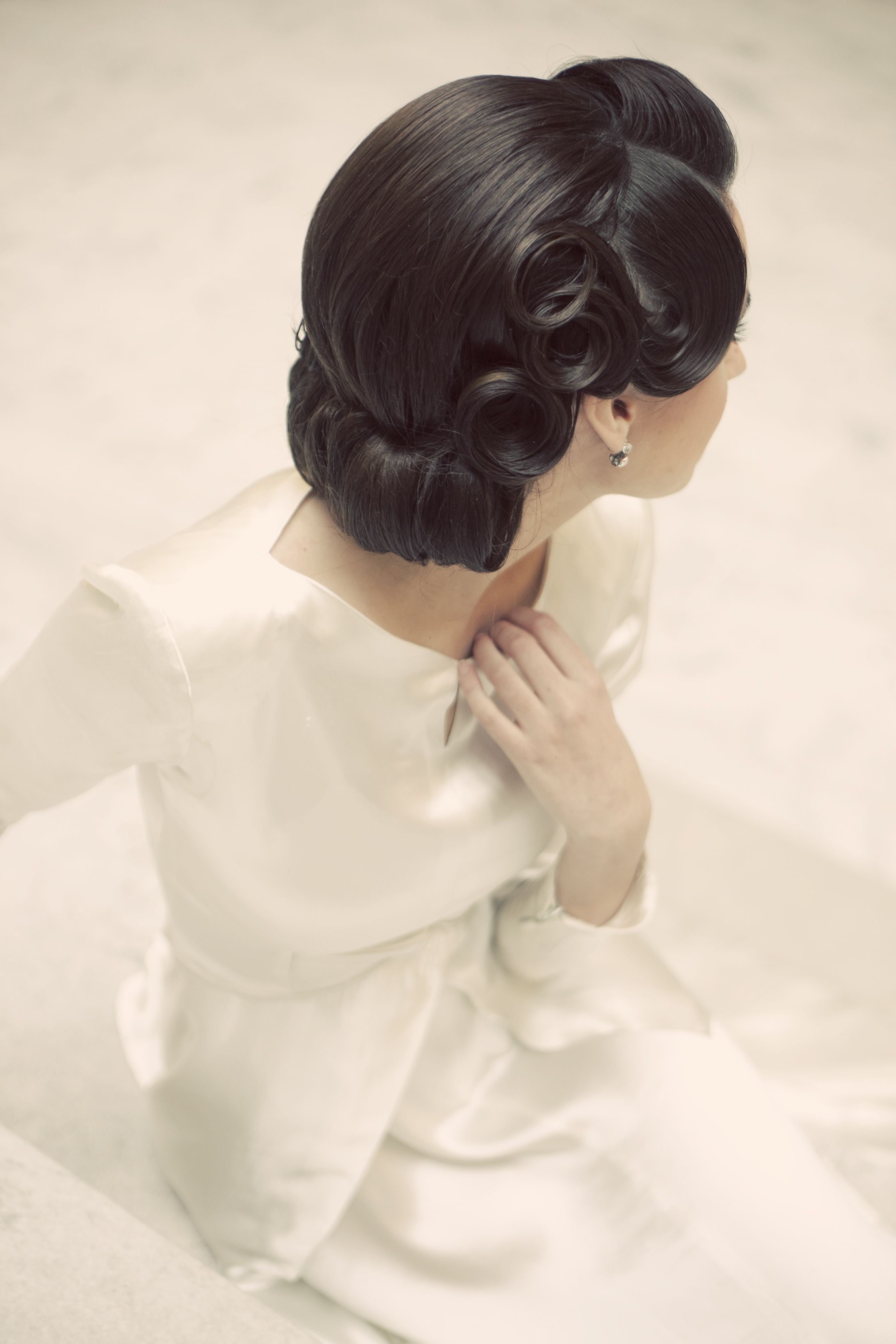 big pin curls, rolled bottom #updo #vintage | HairStyles ...
