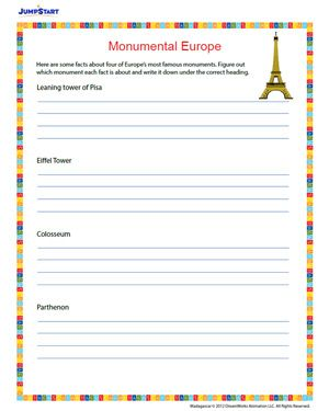monumental europe free 4th grade geography worksheet for the monsters pinterest. Black Bedroom Furniture Sets. Home Design Ideas