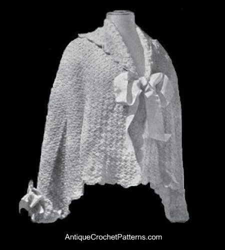 Knitting Pattern For Shawl Bed Jacket : Bed Jacket Pattern Free Vintage Crochet Shawl Pattern. I am making this at th...