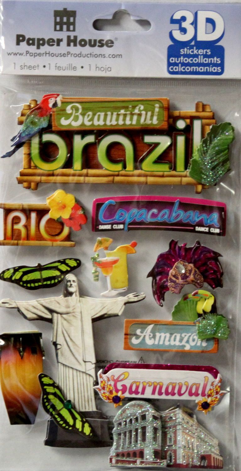 Paper House Beautiful Brazil Dimensional 3 D Stickers House