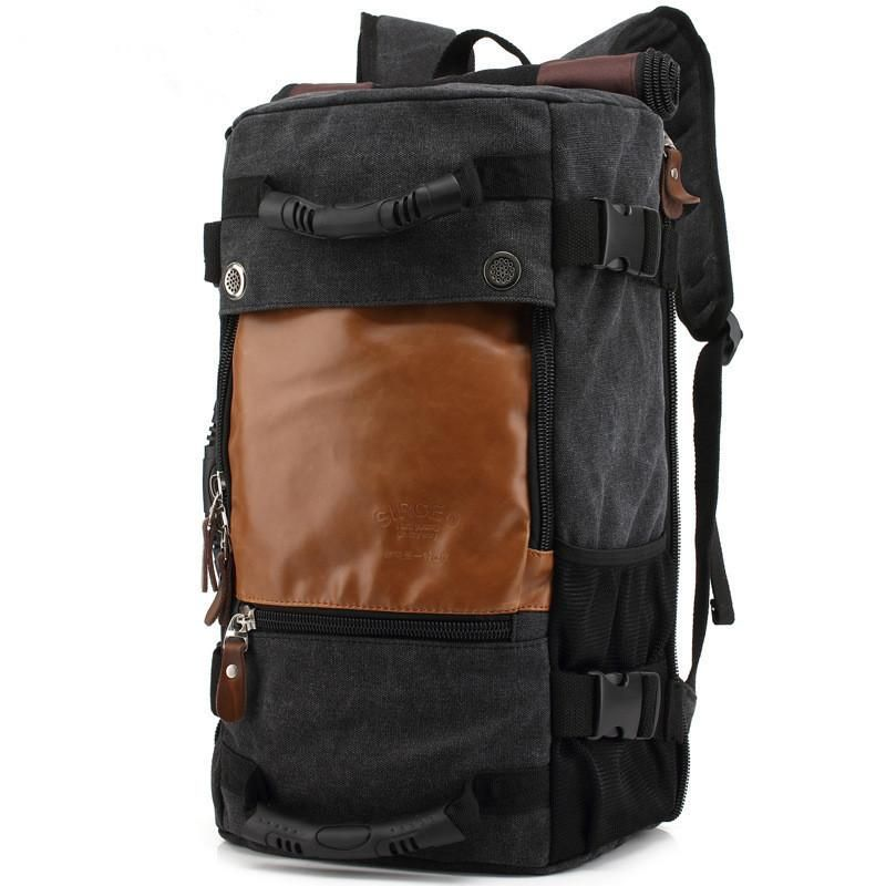 2d05063be8 Canvas Laptop Backpack Travel Hiking Camping Rucksack