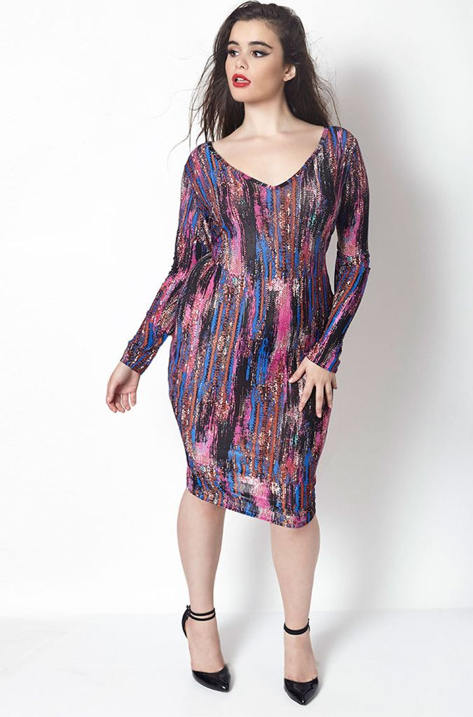 Barbara Ferreira Knox rebdolls purple rain long sleeve midi dress ...