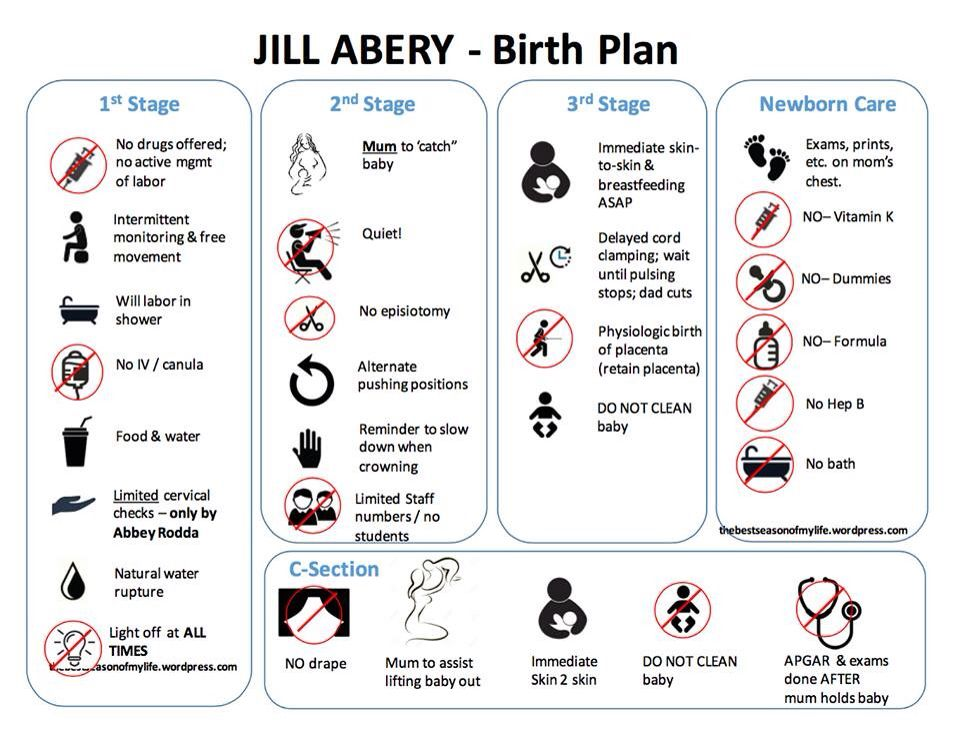 Visual Birth Plan By Jill Abery - Fabulous Resource! | Birth