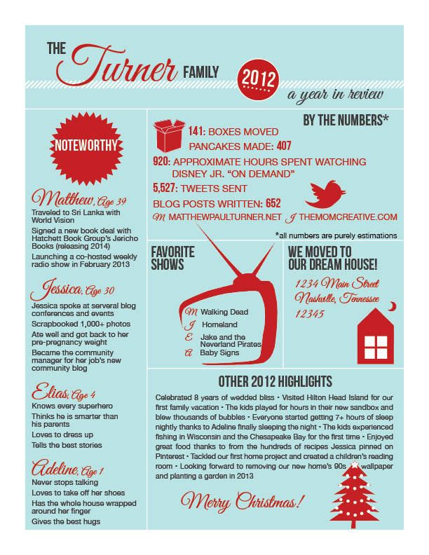 Infographics For Family Newsletter  Xmas Card Ideas