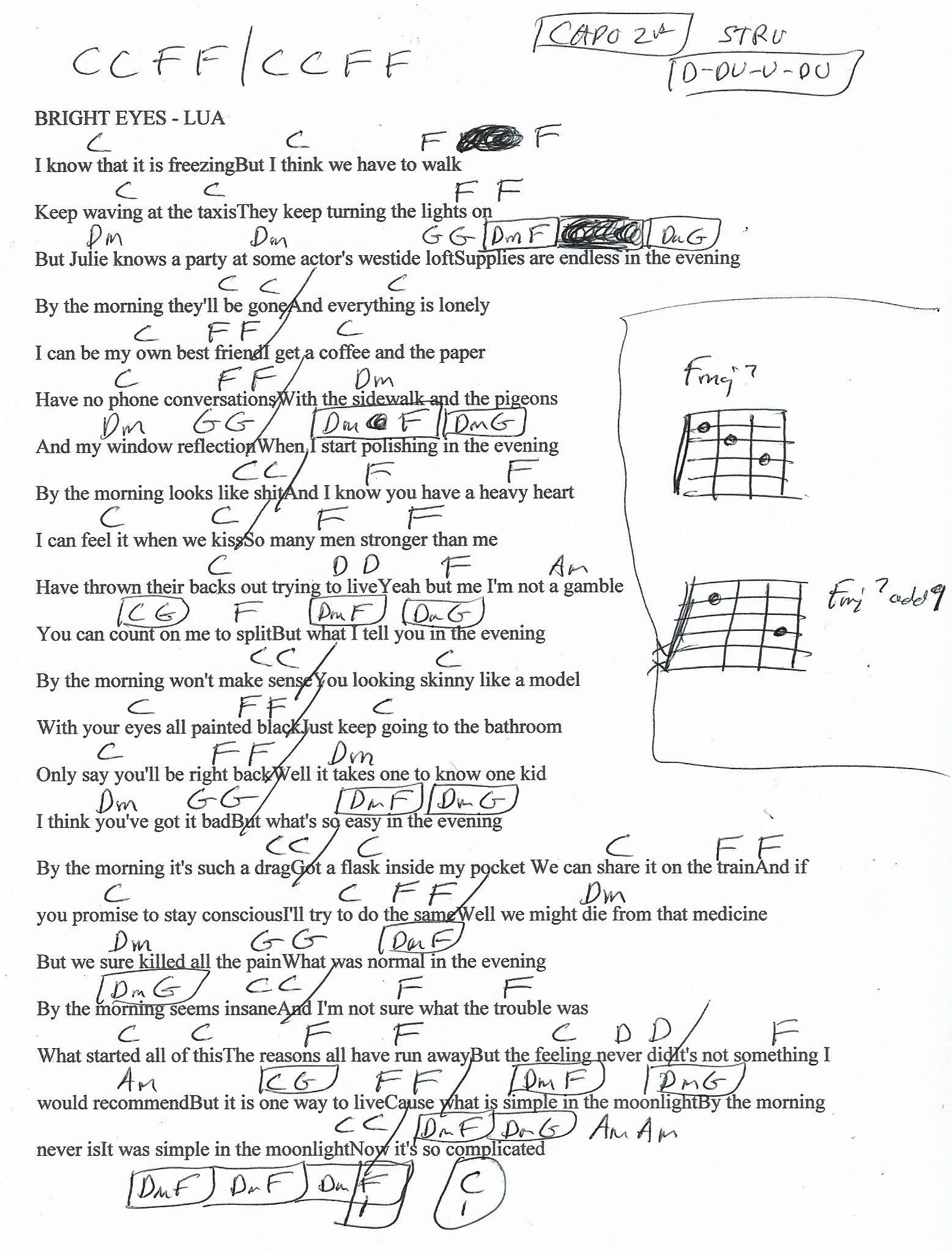 Bright Eyes Lua Guitar Chord Chart Capo 2nd Fret Guitar