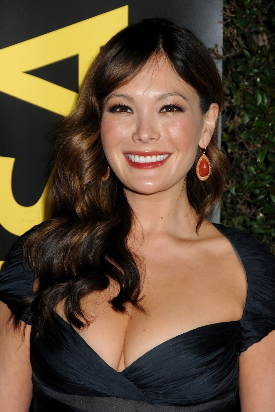 Lindsay Price - 2018 Dark Brown hair & simple hair style. Current length:  long hair (bra strap length)