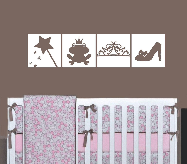 Princess wall decal squares wand frog tiara and shoe girl