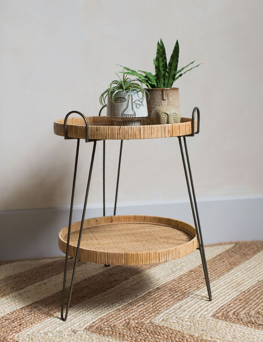 Carrie Two Tier Rattan Side Table In 2020 Side Table Decor Living Room Side Table Decor Side Table Decor Bedroom