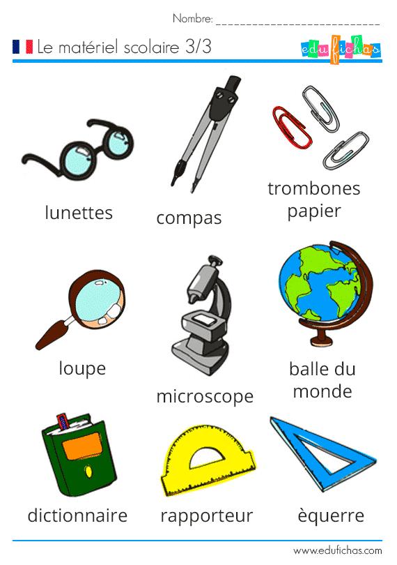 Material escolar en frances frances pinterest french for Material de oficina en ingles
