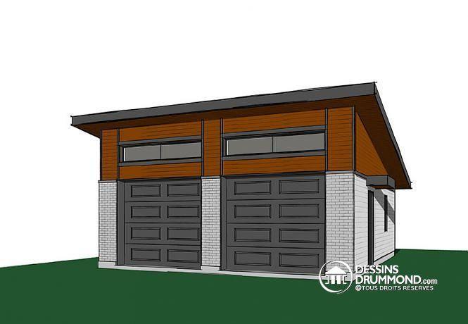 W3989-24 - Plan de garage pour 2 voitures, avec 2 portes de garage