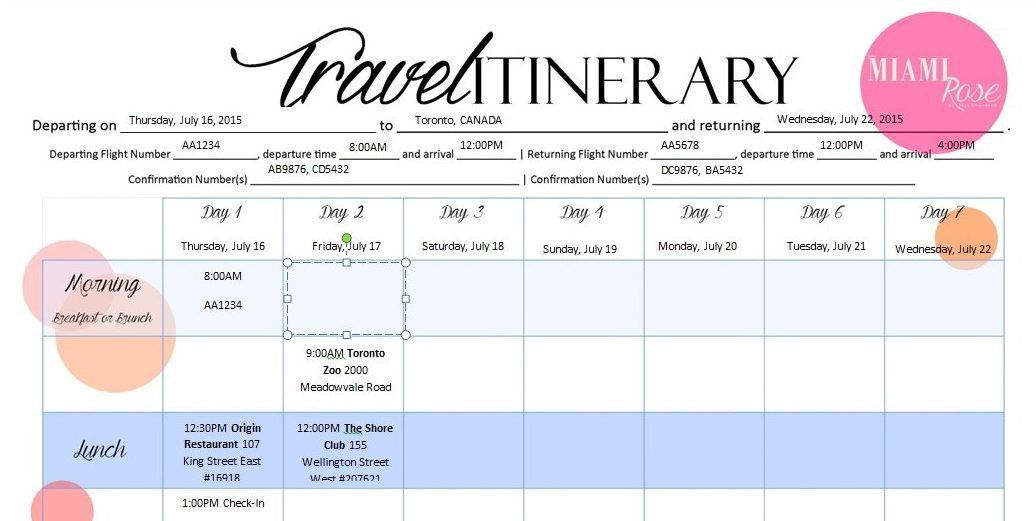 travel itinerary template 6 travel itinerary templates word excel