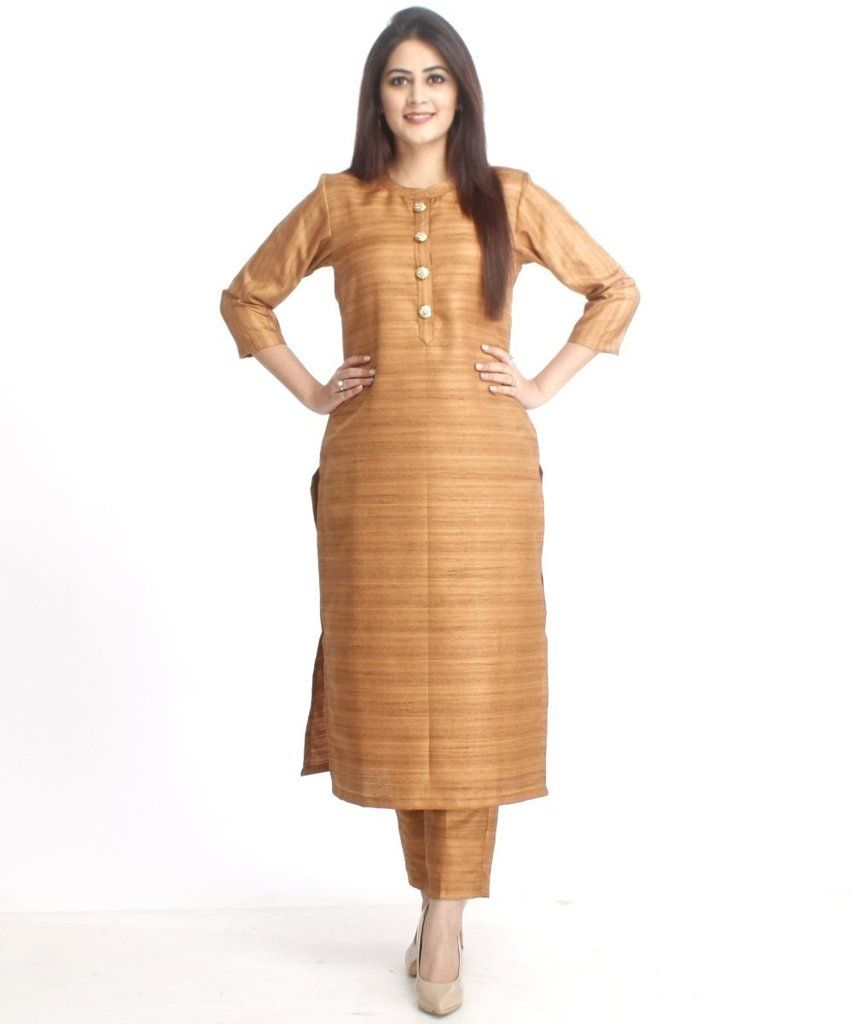 6dbdec9f29e3 Gold Kundan Silk Kurti with Straight Pants