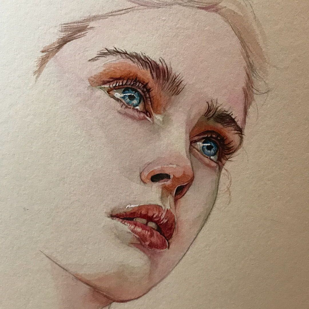 Watercolor Art By Reina Yamada Watercolor Face Watercolor
