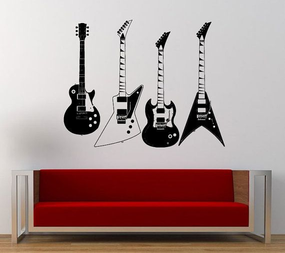 Four Electric Guitars Collection Music Rock Instrument Wall Etsy Music Wall Decal Music Wall Art Guitar Wall