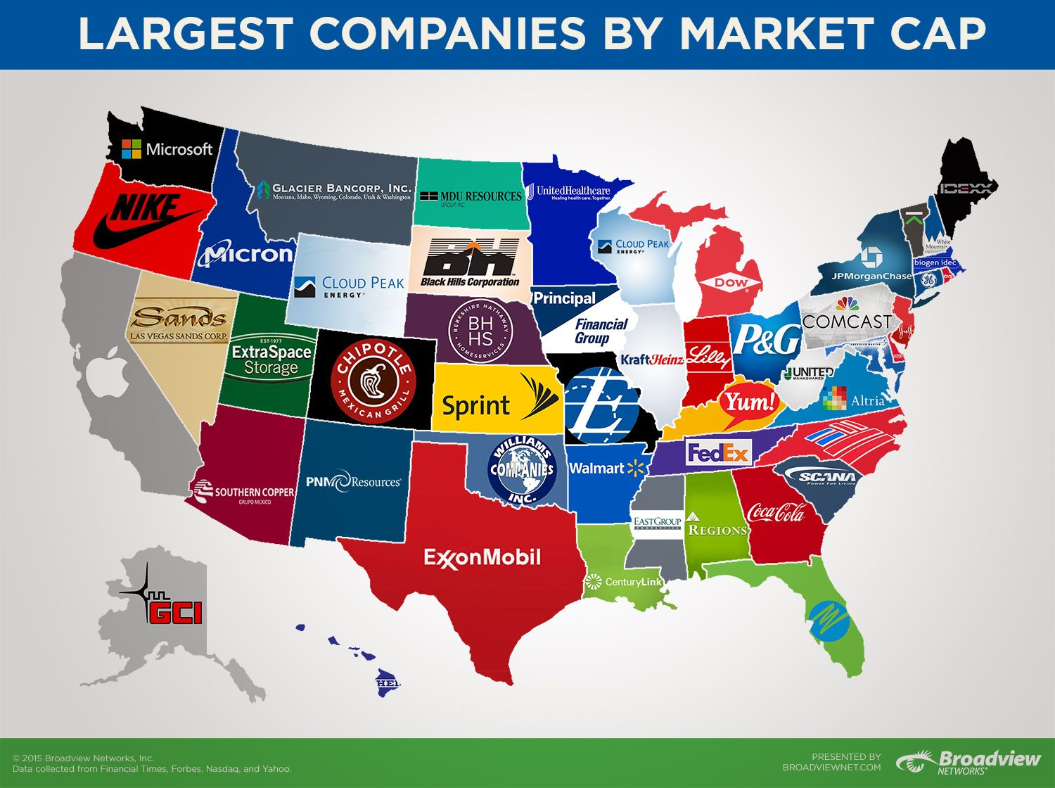 Map of the Largest Companies in Each State by Market Cap