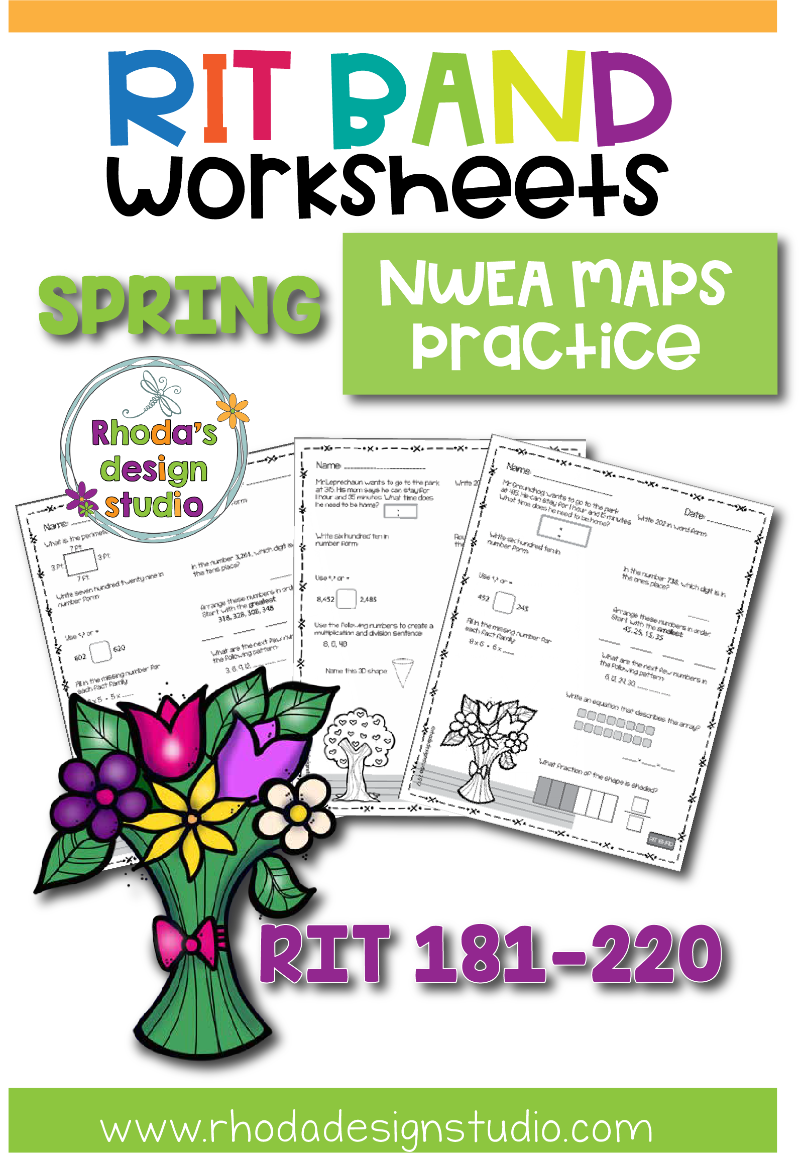 Spring Math Worksheets Nwea Map Prep Practice Rit Band 180