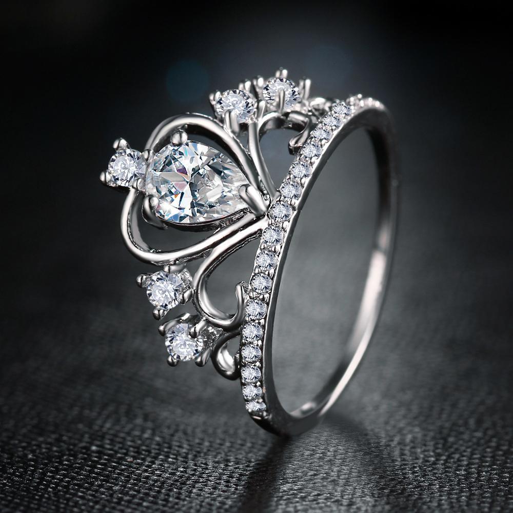 Crystal Heart Crown Ring Crown wedding ring, Romantic