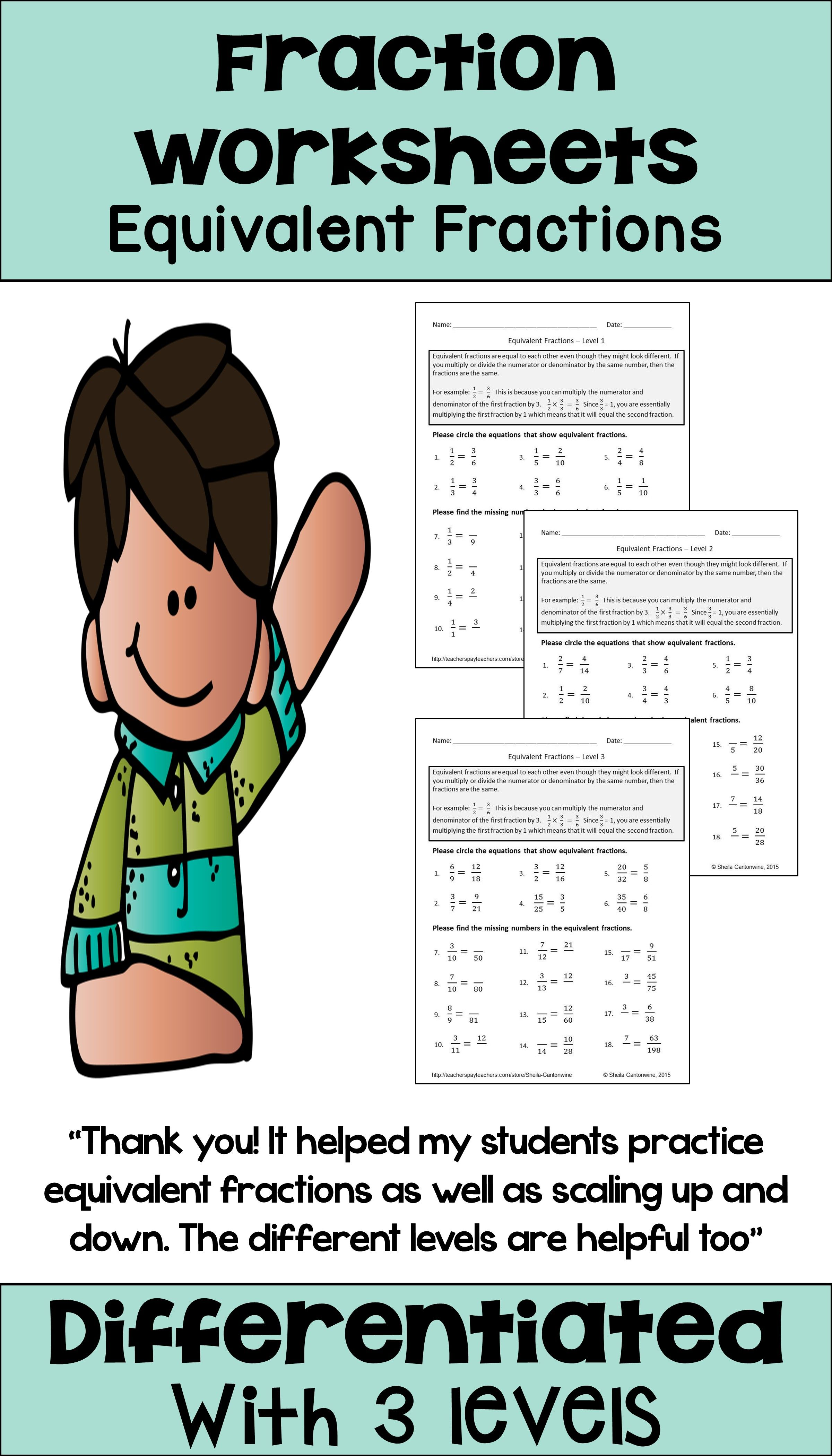 These 3 Equivalent Fraction Worksheets Are Differentiated And Would Be Great Activities For Your 3rd Grade Fractions Worksheets Equivalent Fractions Fractions