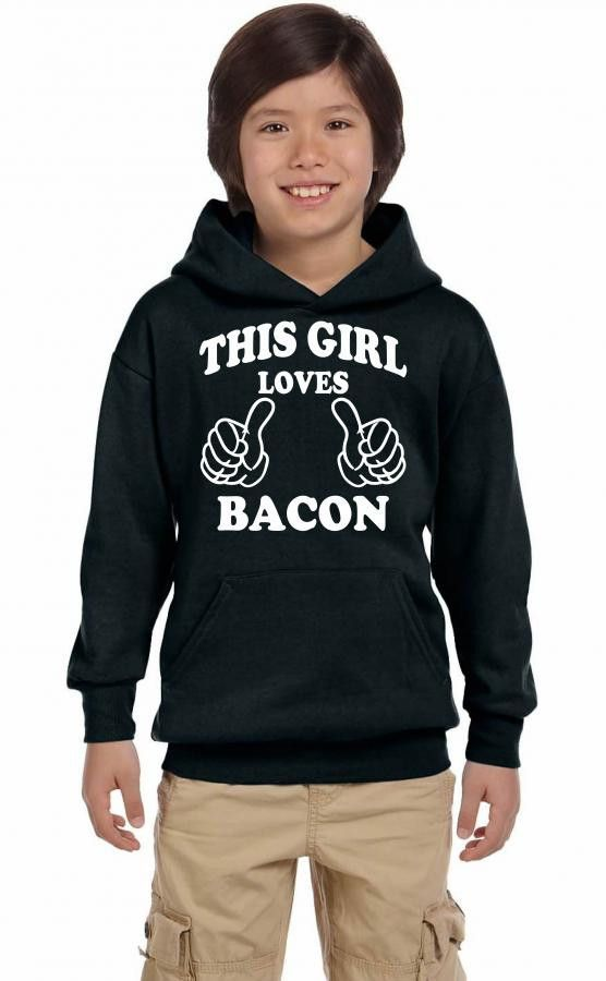 this girl loves bacon white Youth Hoodie