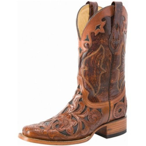 d0a5f87c7c7 Corral Ladies Boots Hand Tooled Dark Chedron Overlay and Black Inlay ...