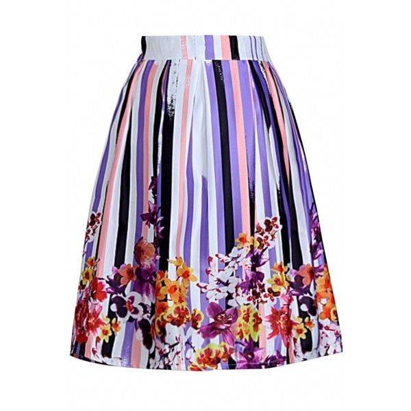 OASAP Colorful Floral Print Pleated Skirt ($17) ❤ liked on Polyvore featuring skirts, floral print skirt, multi colored skirt, floral printed skirt, floral skirt and floral knee length skirt