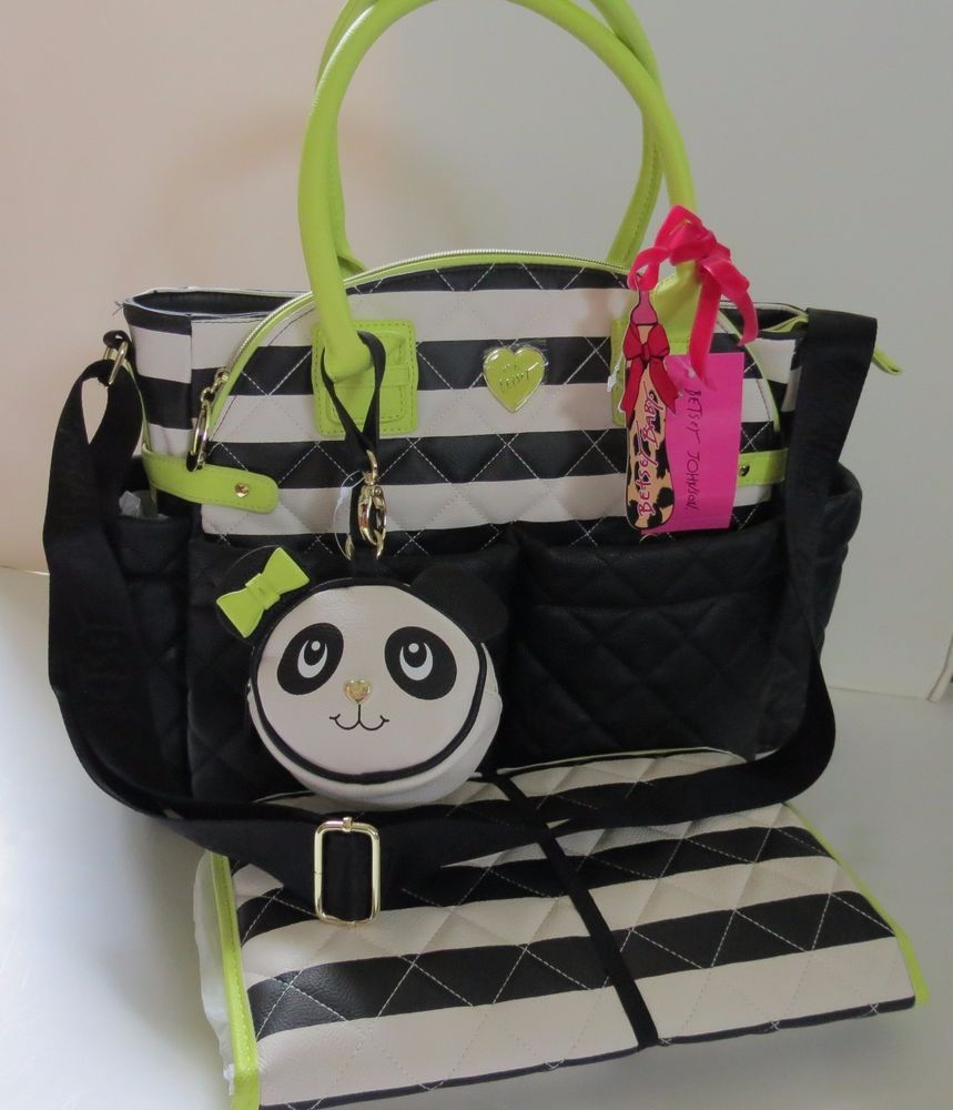 Betsey Johnson Downtown Diamond Quilt Green Trim Baby Diaper Bag Bbd1540 Nwt 158 Betseyjohnson Weekenderpersdiaperbag