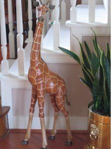 Wooden Carved Painted Solid Wild Giraffe Animal Art Home Decor
