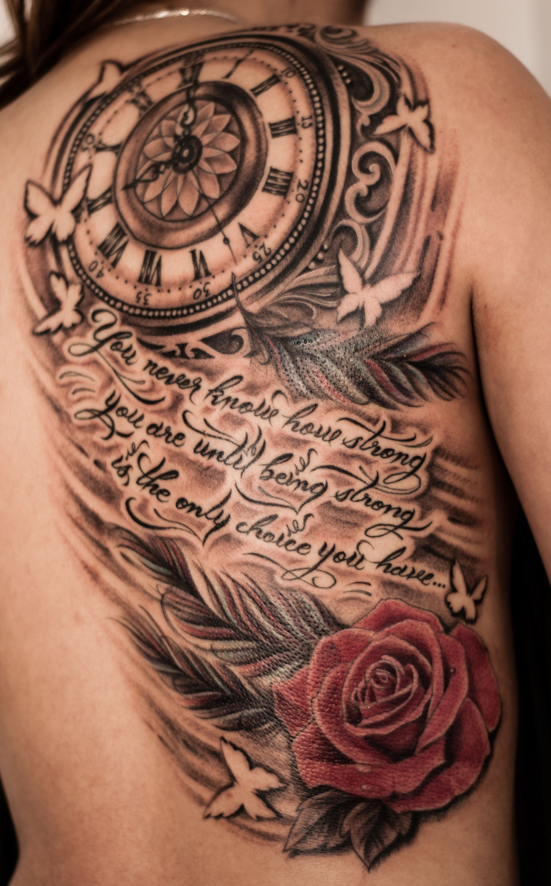Clock forearm black rose sleeve tattoo - Tattoo On Pinterest Clock Tattoos Google Search And More