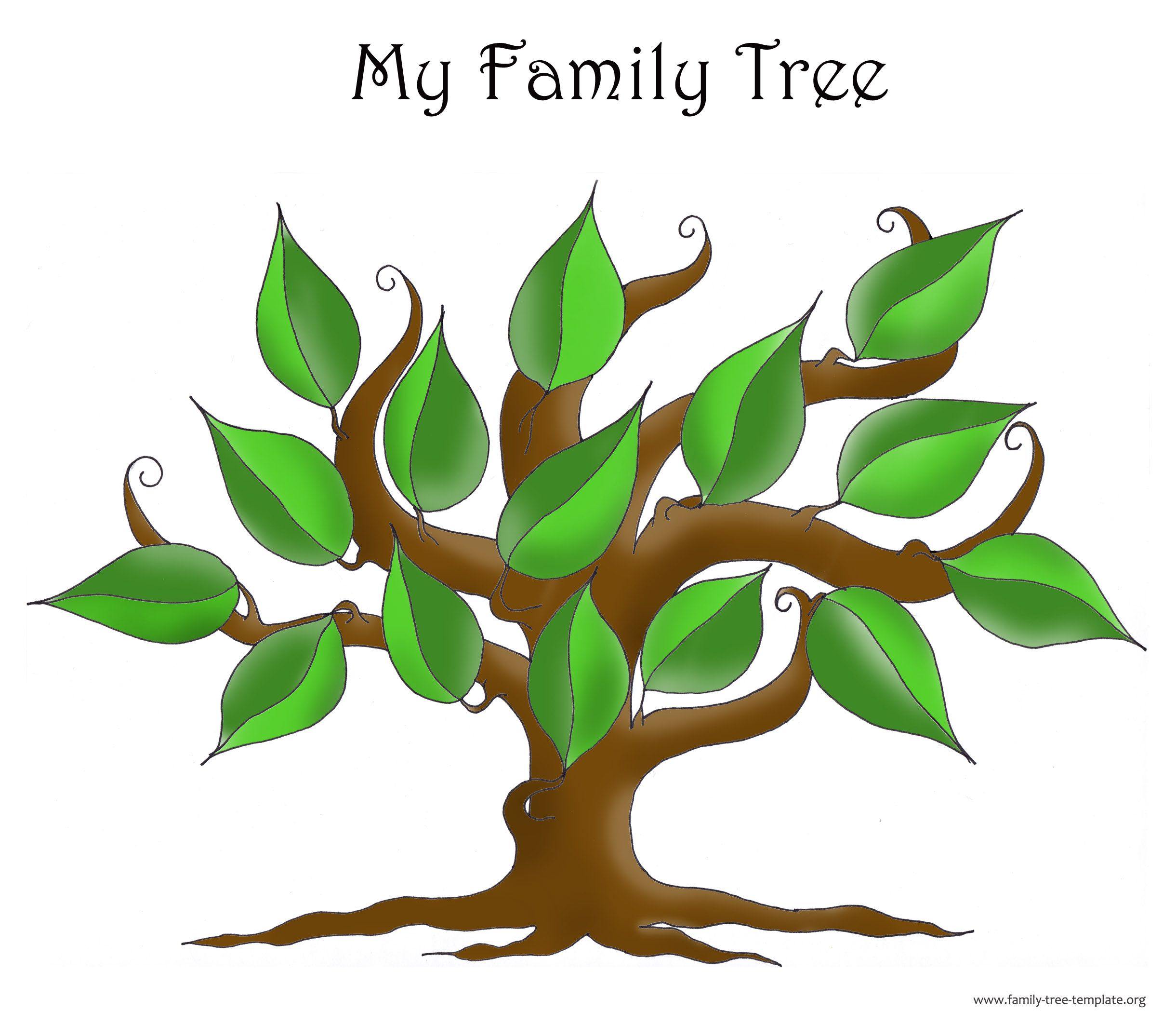 Free Blank Family Tree Template The Non Structured With Leaves Enough To Include All Great