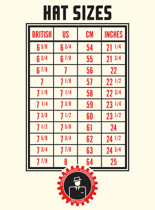 Hat Size Conversion Chart From The Worker Dandyist International